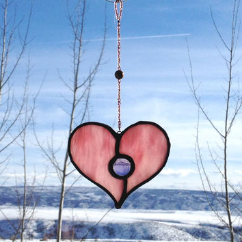 Valentines Day Gift - Stained Glass Heart Suncatcher - Pretty Pink Glass with Purple Gem and Beaded Strand