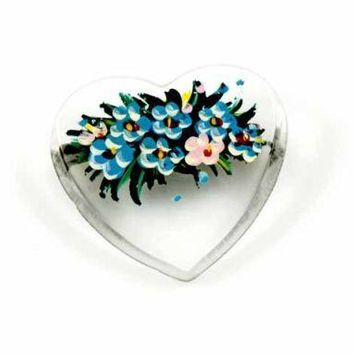 Vintage Clear Lucite Hand Painted  Heart Pin 1940'S