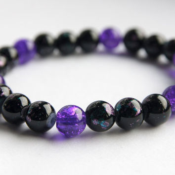 Black bracelet, purple bracelet, stretch bracelet, uk jewellery