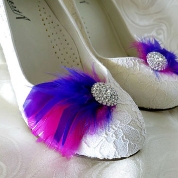 Bridal Bridesmaid Feathered Feather Shoe Clips Rhinestone Accents Purple Magenta Fuschia  Set of 2