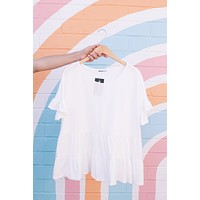 Tristan Tiered Top, Off White | Extended Sizes