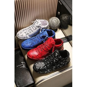 GZ Giuseppe Zanotti Men's Leather Fashion Low Top Sneakers Shoes