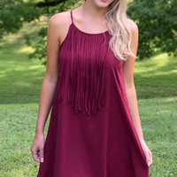 Go Fight Win Gameday Fringe Dress - Burgundy