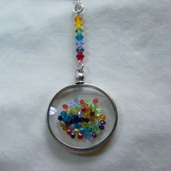 Floating Rainbow Chakra Crystals Double Sided Glass Locket Necklace