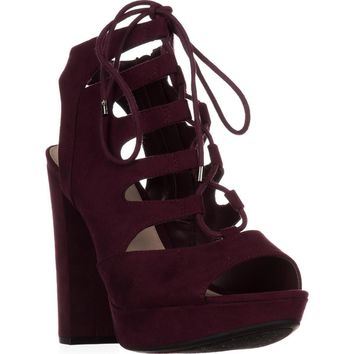 B35 Nelly Platform Gladiator Sandals, Wine, 6 US