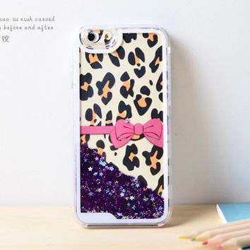 Bow Leopard Dynamic Liquid Purple Glitter Sand Quicksand Bling Clear iPhone 6 Plus case Retro flower Phone Case