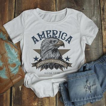 Women's America T Shirt Eagle Shirts One Nation Under God Graphic Tee Vintage 4th July TShirt