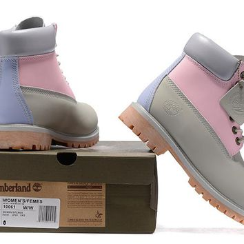55ff35a4d8 Women s Timberland Icon 6-inch Premium Classic Pink Grey Nubuck Waterproof  Boots