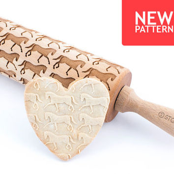 Dressage horse - Embossed, engraved rolling pin for cookies