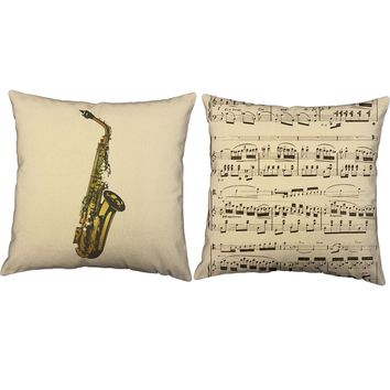Saxophone Instrument Throw Pillows