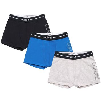 Hugo Boss Boys Set of Three Boxer Shorts [Navy/Blue/Grey]