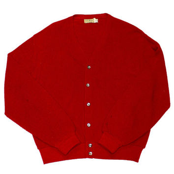 Vintage 1960s LL Bean Red Cardigan Sweater Made in USA Mens Size Large