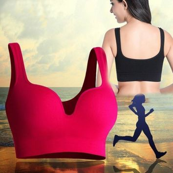 Fitness Sports Bra Women Push Up Tank Athletic Vest Top Seamless 3D Bras No Rims Shockproof Brassiere Running Sleep Underwear