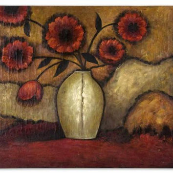 Floral Wall Art - Poppies Themed Oil Reproduction