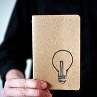 Idea Light Bulb Pocket Size Moleskine Journal Notebook Hand Carved Design Modern Geek Nerd