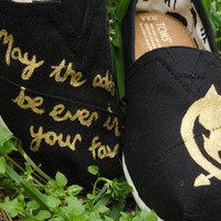 Hand-Painted Gold Metallic Mockingjay TOMS - Custom made to order
