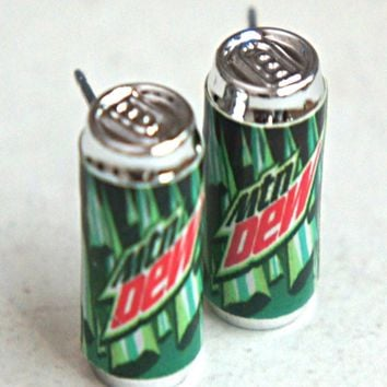 Mountain Dew Soda Can Earrings