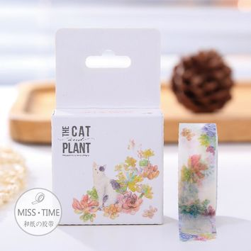 New  DIY Japanese paper Masking Washi tapes  Beautiful cat and floral Decoration Adhesive Tapes  scrapbooking stickers
