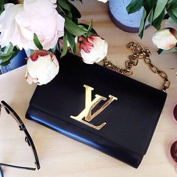 LV Louis Vuitton Fashion Women Shopping Bag Leather Metal Chain Satchel Shoulder Bag Crossbody Black I/A