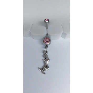 Tiny Mermaid Belly Button Ring - Body Jewelry/Bellybutton Jewelry/Belly Navel Ring Piercing