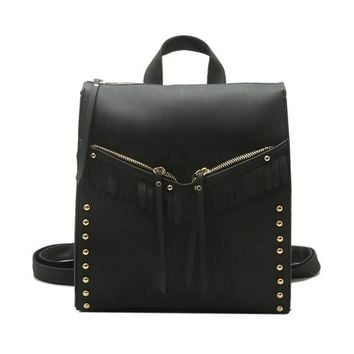 Boxy Backpack Purse in Black Brown or Gray