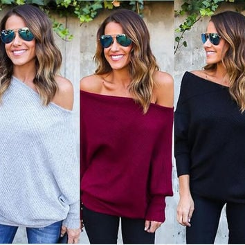 Solid Color One Shoulder Sweater