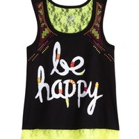 Typography Crop Lace Tank