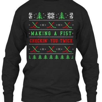 Ugly Christmas Hockey Sweater Hoodie