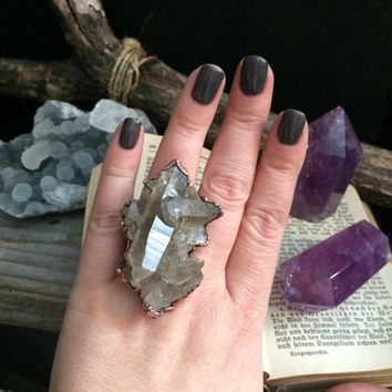 Large Raw Crystal Ring / Smoky Quartz Cluster Ring / Raw Crystal Cluster Ring  / One Of A Kind Raw Crystal Ring / Large Crystal Ring