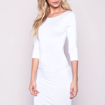 WHITE SLEEVE JERSEY KNIT MIDI DRESS