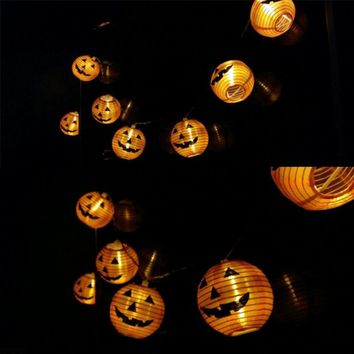 Halloween Pumpkin String Lights 3D Pumpkin 10 LED 1.2M Battery Operated Halloween Decorations for Home Party Props Decor