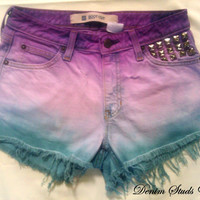High Waist Denim Shorts, Dyed Purple & Teal