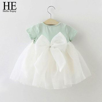 HE Hello Enjoy Baby Girl Dress 1 year birthday dress lace infant baptism vestido infantil bowknot princess wedding dress