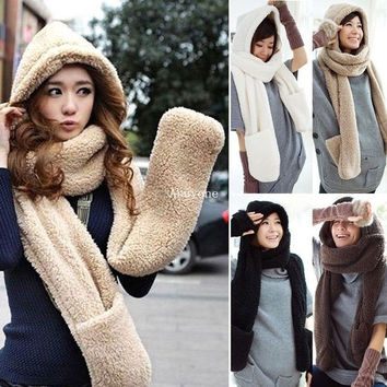 Women Winter Warm Soft Plush Faux Fur Hooded Cap Hat Scarves Scarf Gloves = 1932732804