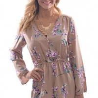 Well Bloomed Romper in Taupe