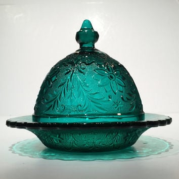 Tiara Teal Blue Sandwich Glass Butter Dish, Butter Dome, Indiana Glass Teal Blue Sandwich Glass Butter Dish or Cheese Dish, Butter Keeper