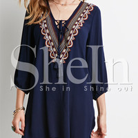 Navy Long Sleeve V Neck Embroidered Shift Mini Dress