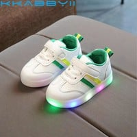 New Children Luminous Shoes Boys Girls Stripe Sport Running Shoes Baby Lights Fashion Sneakers Toddler Kids LED Sneakers