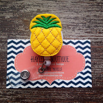 Pineapple Badge Reel - Summer - Fruit  - Nurse Name Badge - Nurse Badge Reel- Nurse Badge Holder - Felt Badge Reel - Office Gift