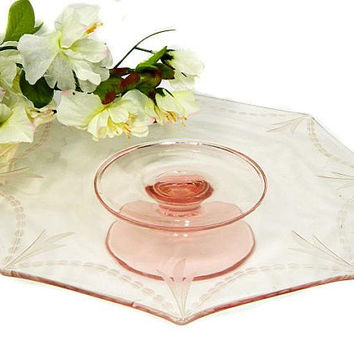 Pink Depression Glass Pedestal Octagon Cake Plate Etched Swags