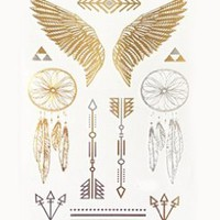 BININBOX waterproof Metallic tattoos stickers Shimmer Designs in Wrist & Arm Bands, neck & More