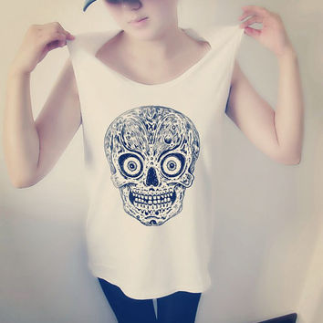 Skull Design Pattern Women Shirt , Crop Top Tank Tops T-Shirt , Sexy Hipster Crop Top Shirt , Custom Photo T-Shirt