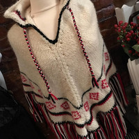 Vintage Handknit Womens Off White Hooded Poncho with Black & Red Fringe and Trim Chunky Sweater Knit Wool Blend One Size Fits Most