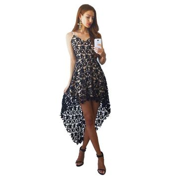 Summer Women Boho Knee-Length Trailing Dress Hollow Out Lace Beach Maxi Dress Club Wear Female Spaghetti Strap Sexy Dresses