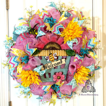 Spring Bee Floral Welcome Deco Mesh Wreath