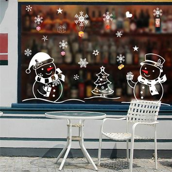 Christmas Tree Snowman Christmas New Year Shop Window  Wall Sticker  Christmas Decorations