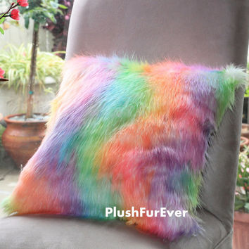 "17""x17"" Rainbow Luxury Shaggy Fur Pillows Faux Fake Fur Pillow (INSERT INCLUDED) Bedding Sofa Pillows decor"