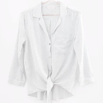 Striped Front Knot Blouse