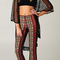 Rust Black Yellow Aztec Tribal Print Lounge Palazzo Pants Elastic Waist