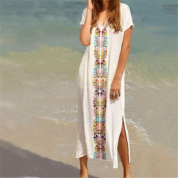 New Arrivals Beach Cover up Rayon Embroidery Swimwear Ladies Vintage Pareo Kaftan Beach Swimsuit Robe de Plage Beachwear